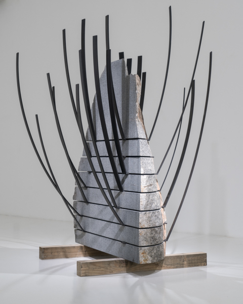 Michele Mathison, Extrusion, 2017, Steel and granite, 203 x 130 x 123cm